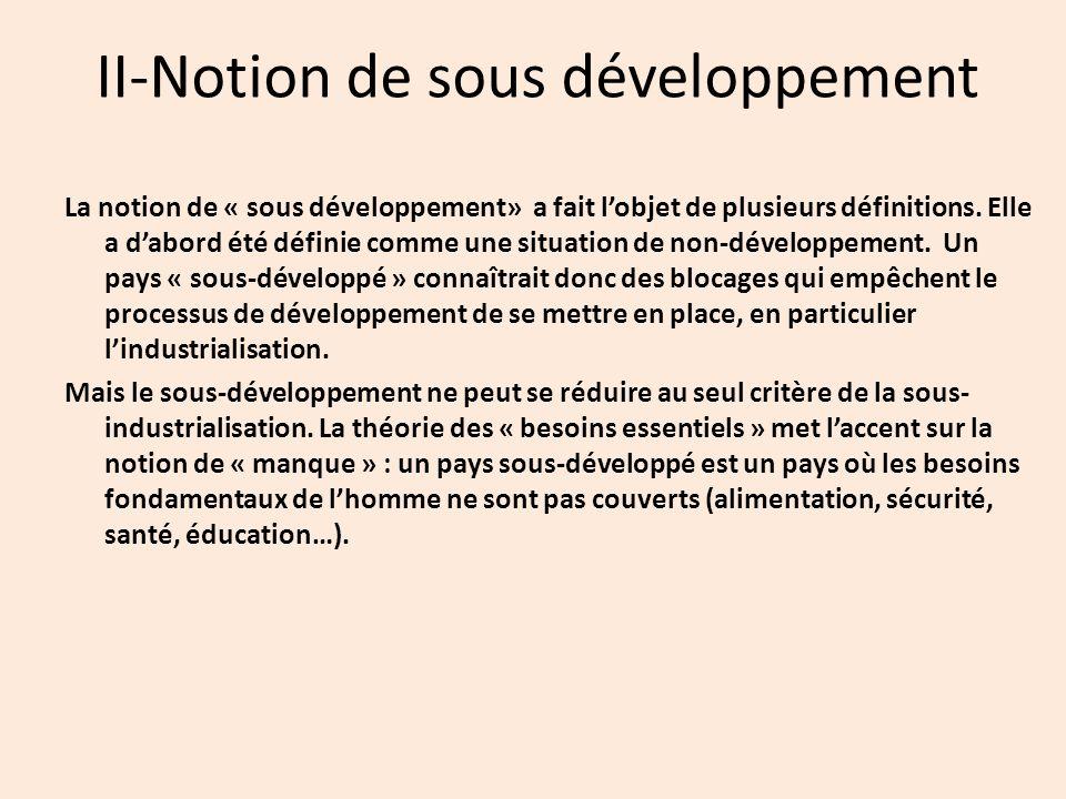 II-Notion de sous développement La notion de « sous développement» a fait l'objet de plusieurs définitions.