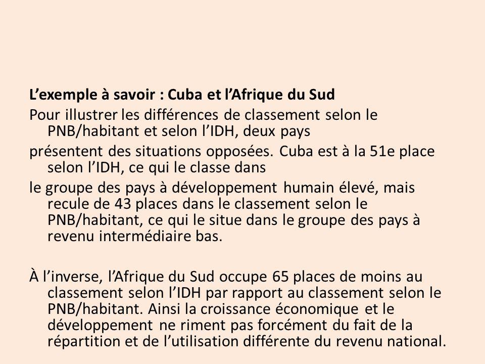 L'exemple à savoir : Cuba et l'Afrique du Sud Pour illustrer les différences de classement selon le PNB/habitant et selon l'IDH, deux pays présentent des situations opposées.