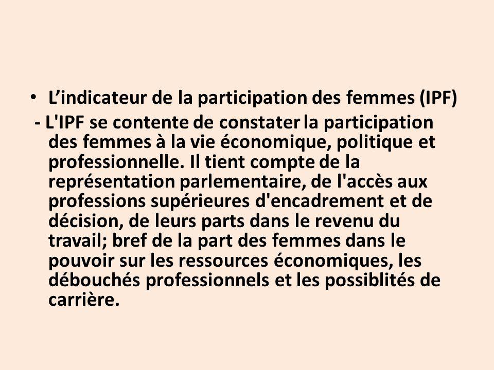 L'indicateur de la participation des femmes (IPF) - L IPF se contente de constater la participation des femmes à la vie économique, politique et professionnelle.