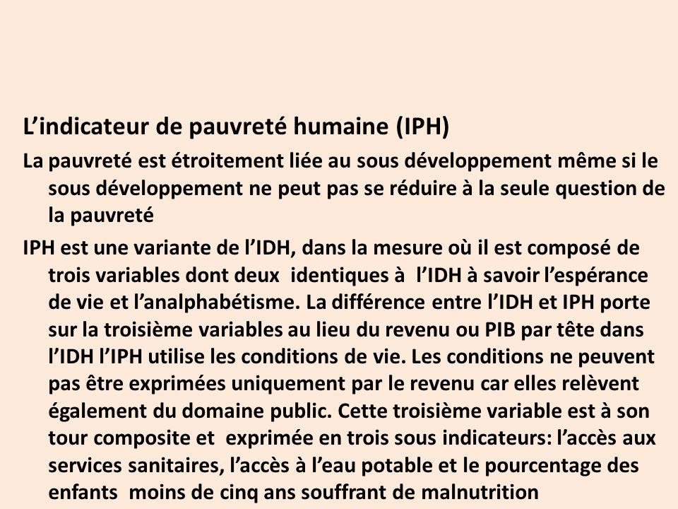 L'indicateur de pauvreté humaine (IPH) La pauvreté est étroitement liée au sous développement même si le sous développement ne peut pas se réduire à la seule question de la pauvreté IPH est une variante de l'IDH, dans la mesure où il est composé de trois variables dont deux identiques à l'IDH à savoir l'espérance de vie et l'analphabétisme.