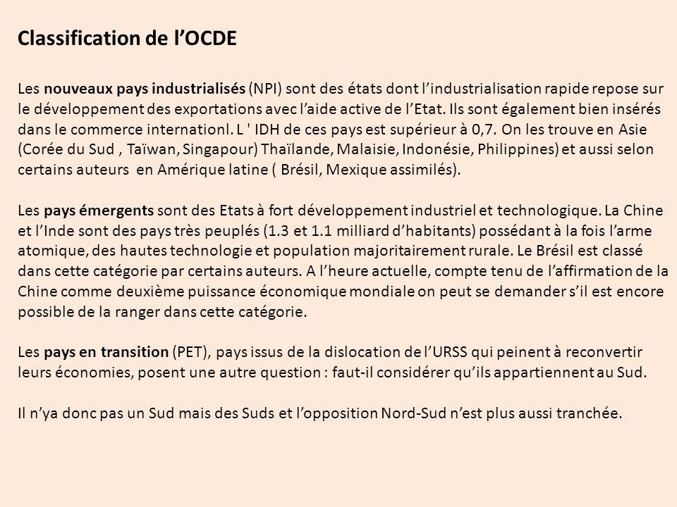 Classification de l'OCDE Les nouveaux pays industrialisés (NPI) sont des états dont l'industrialisation rapide repose sur le développement des exportations avec l'aide active de l'Etat.