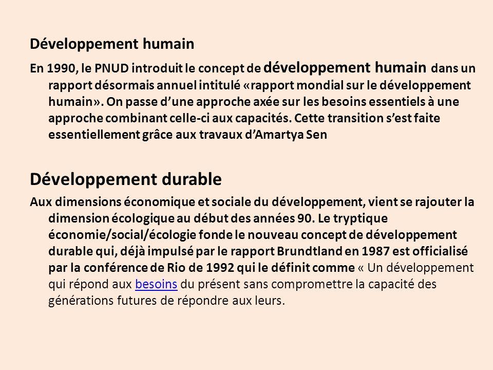 Développement humain En 1990, le PNUD introduit le concept de développement humain dans un rapport désormais annuel intitulé «rapport mondial sur le développement humain».