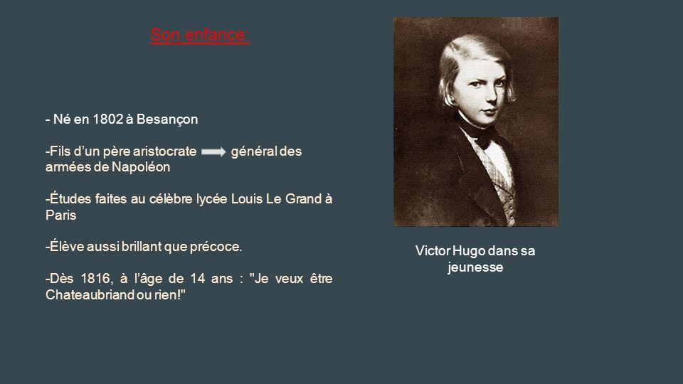 Victor Hugo dans sa jeunesse - Né en 1802 à Besançon -Fils d'un père aristocrate général des armées de Napoléon -Études faites au célèbre lycée Louis Le Grand à Paris -Élève aussi brillant que précoce.