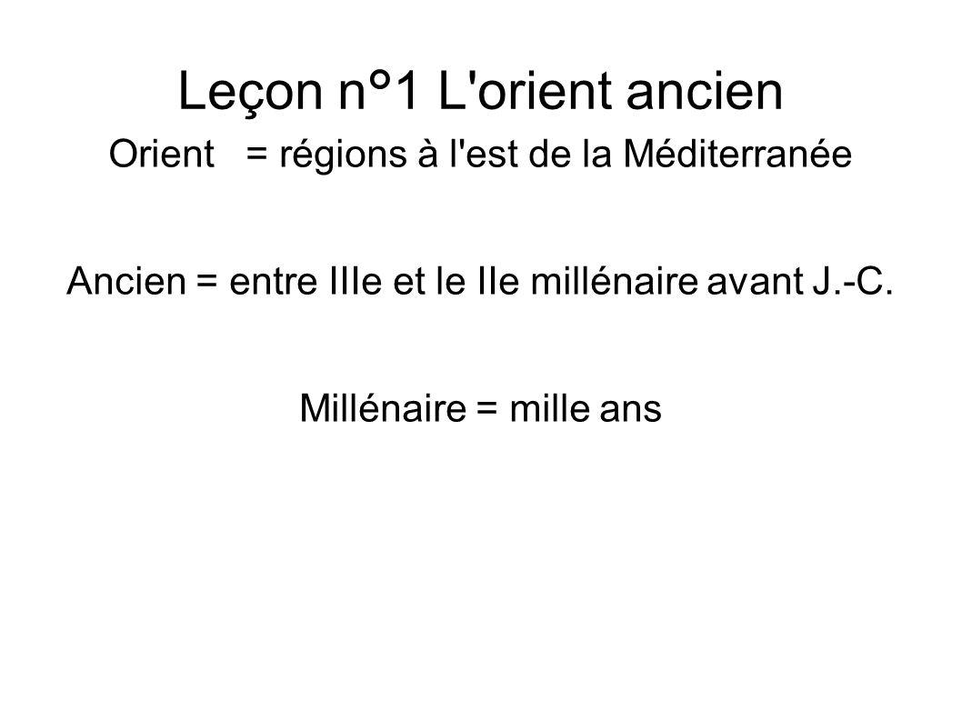 Leçon n°1 L orient ancien Orient = régions à l est de la Méditerranée Ancien = entre IIIe et le IIe millénaire avant J.-C.