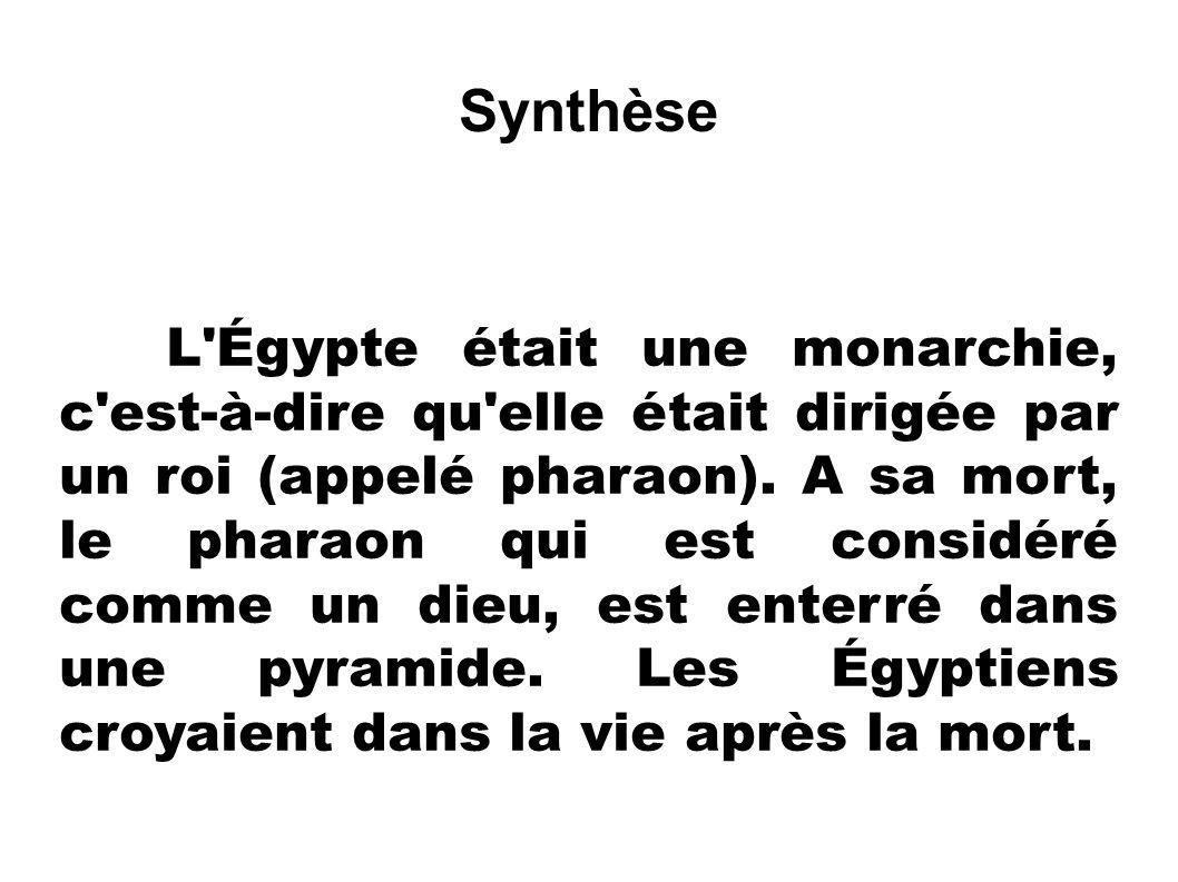 Synthèse L Égypte était une monarchie, c est-à-dire qu elle était dirigée par un roi (appelé pharaon).