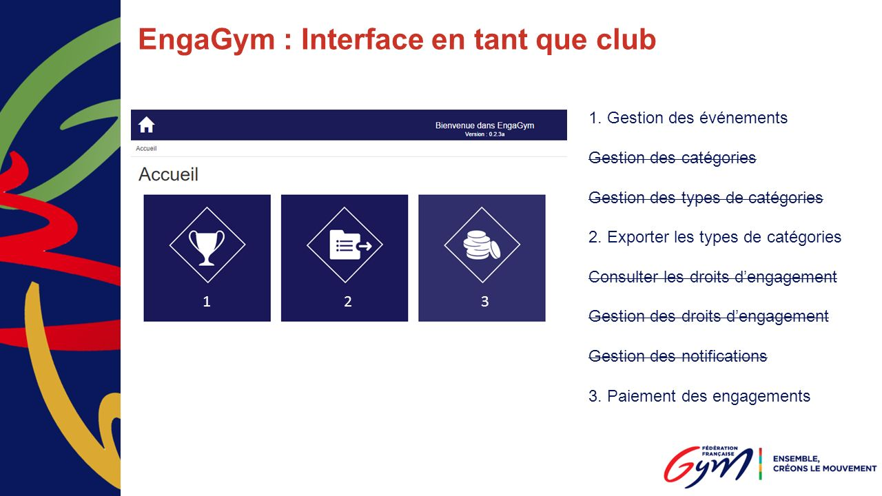 EngaGym : Interface en tant que club 1.