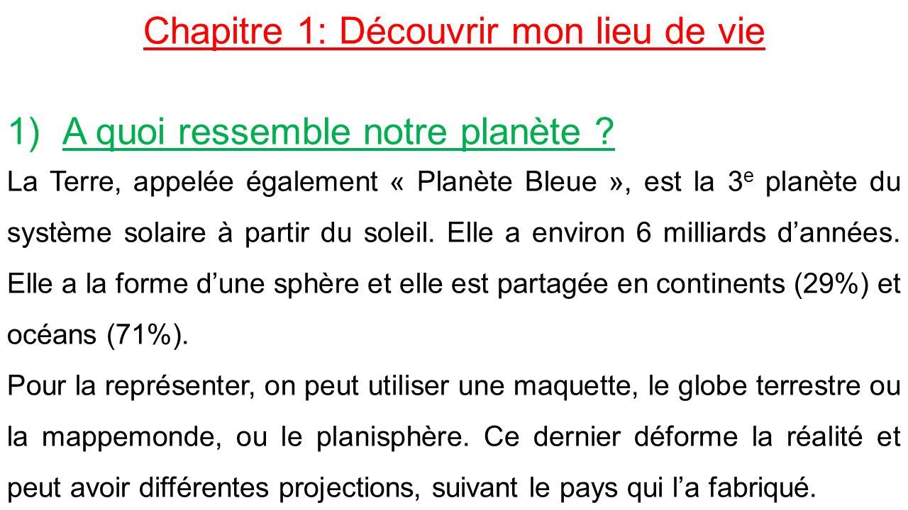 Chapitre 1: Découvrir mon lieu de vie 1)A quoi ressemble notre planète .