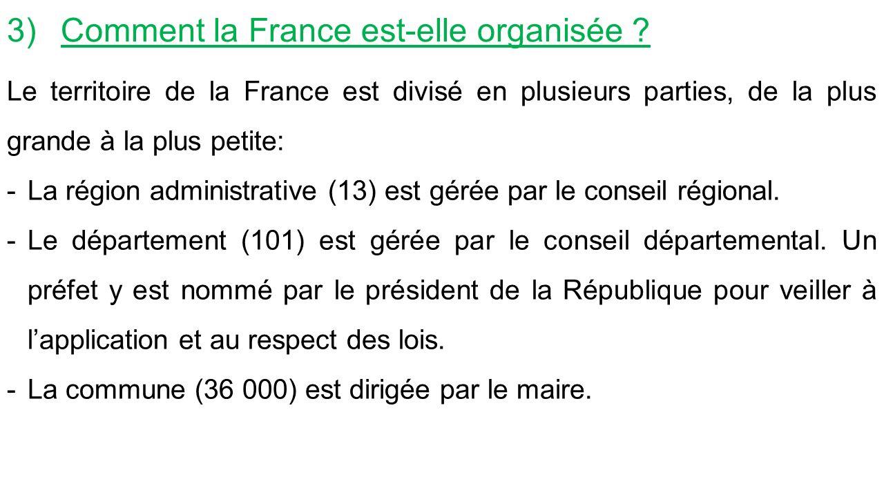 3)Comment la France est-elle organisée .