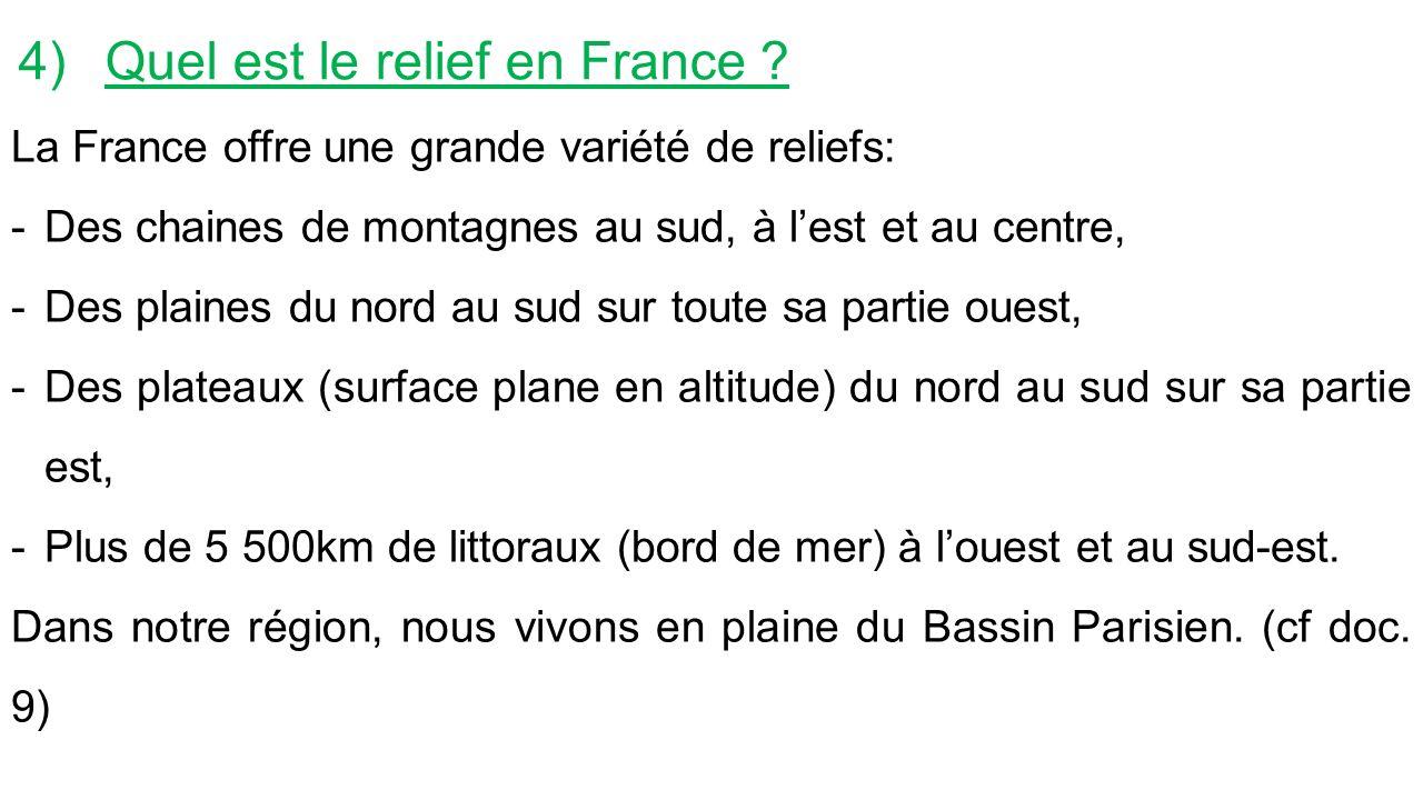 4)Quel est le relief en France .
