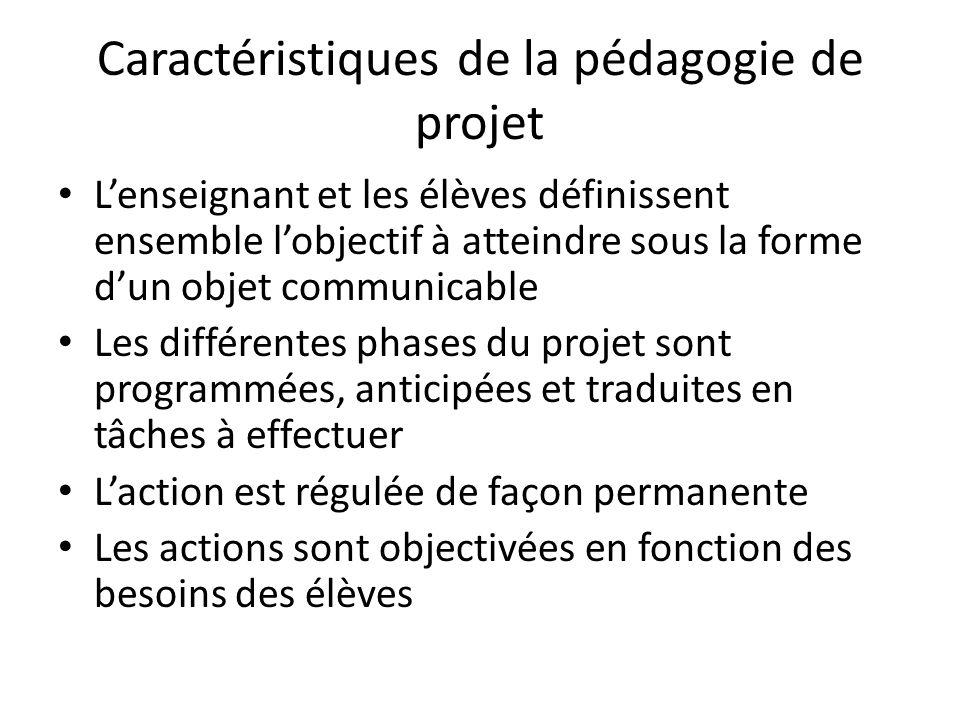 Caractéristiques de la pédagogie de projet L'enseignant et les élèves définissent ensemble l'objectif à atteindre sous la forme d'un objet communicable Les différentes phases du projet sont programmées, anticipées et traduites en tâches à effectuer L'action est régulée de façon permanente Les actions sont objectivées en fonction des besoins des élèves