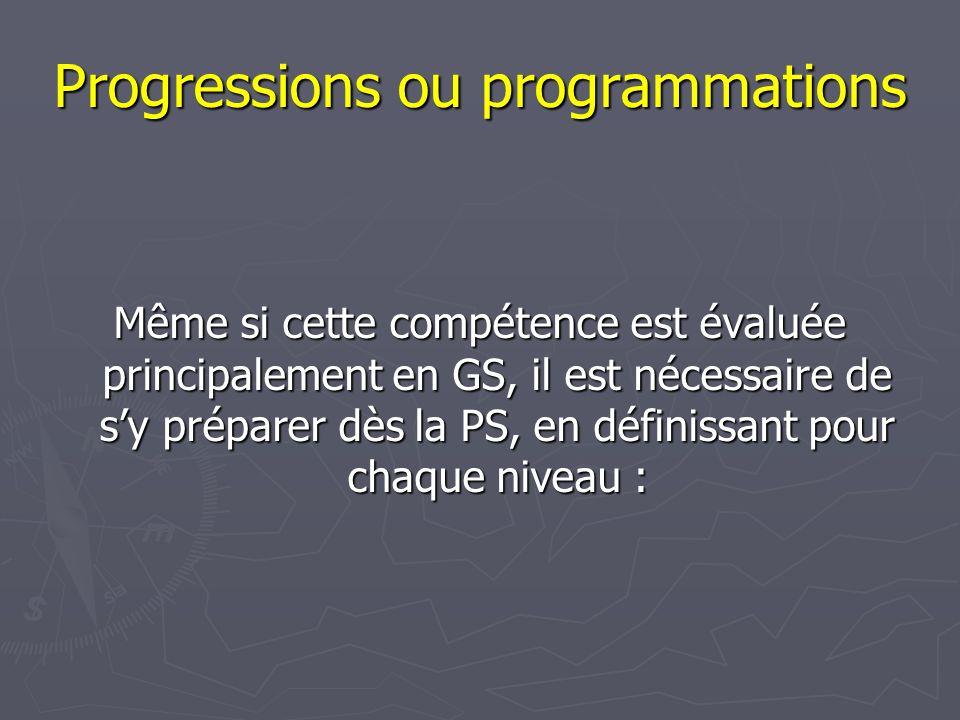 Progressions ou programmations Même si cette compétence est évaluée principalement en GS, il est nécessaire de s'y préparer dès la PS, en définissant pour chaque niveau : :