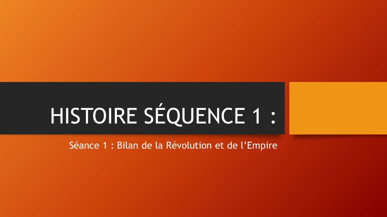 HISTOIRE SÉQUENCE 1 : Séance 1 : Bilan de la Révolution et de l'Empire
