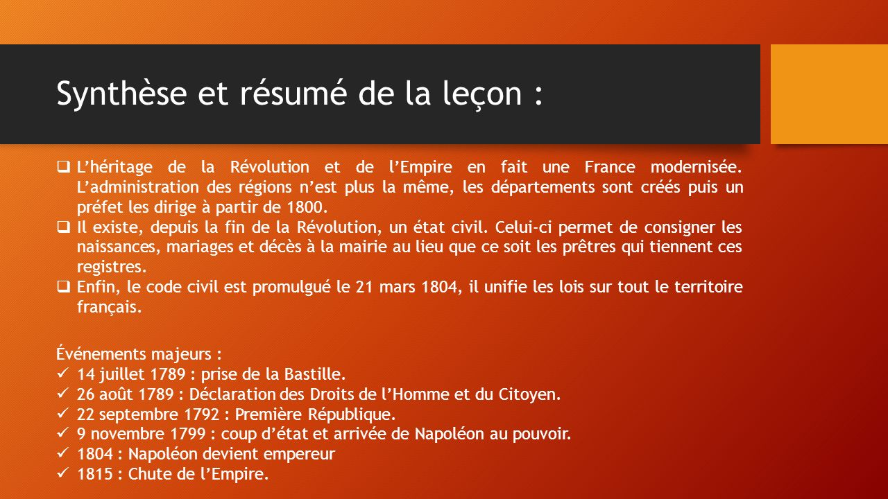 Synthèse et résumé de la leçon :  L'héritage de la Révolution et de l'Empire en fait une France modernisée.