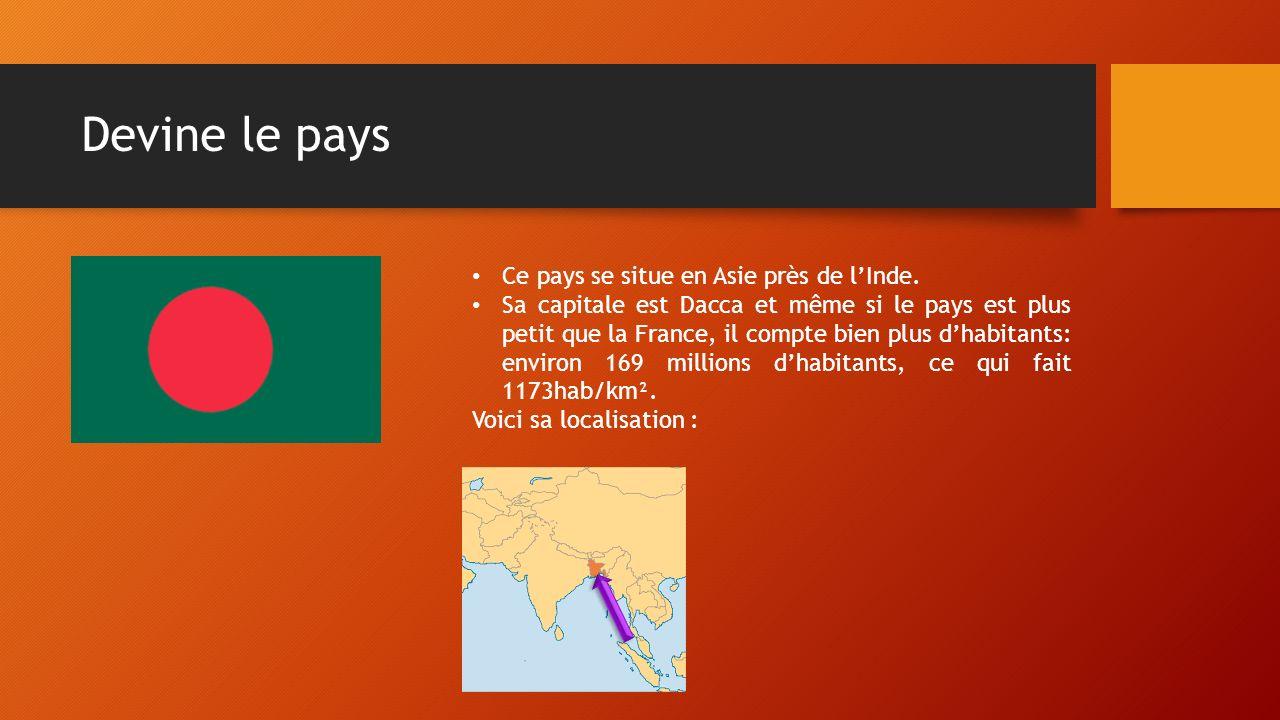 Devine le pays Ce pays se situe en Asie près de l'Inde.