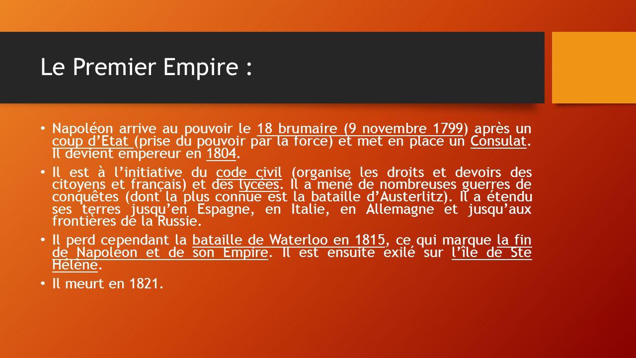 Le Premier Empire : Napoléon arrive au pouvoir le 18 brumaire (9 novembre 1799) après un coup d'Etat (prise du pouvoir par la force) et met en place un Consulat.