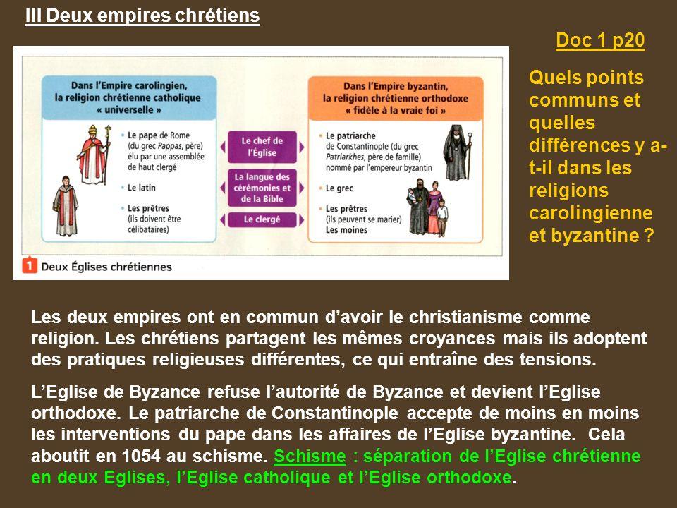 III Deux empires chrétiens Les deux empires ont en commun d'avoir le christianisme comme religion.