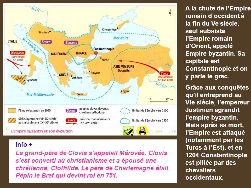 A la chute de l'Empire romain d'occident à la fin du Ve siècle, seul subsiste l'Empire romain d'Orient, appelé Empire byzantin.