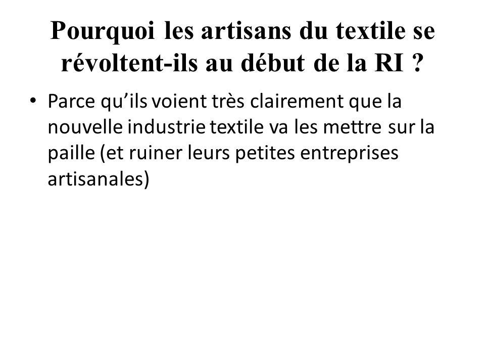 Pourquoi les artisans du textile se révoltent-ils au début de la RI .