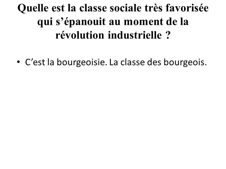 Quelle est la classe sociale très favorisée qui s'épanouit au moment de la révolution industrielle .