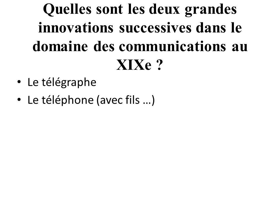 Quelles sont les deux grandes innovations successives dans le domaine des communications au XIXe .