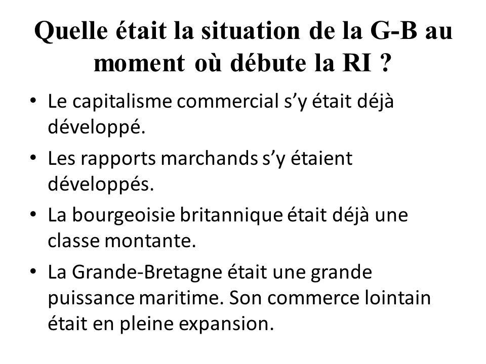 Quelle était la situation de la G-B au moment où débute la RI .