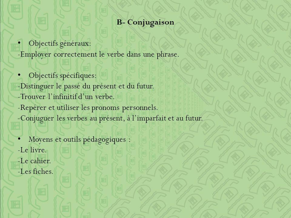 B- Conjugaison Objectifs généraux: -Employer correctement le verbe dans une phrase.