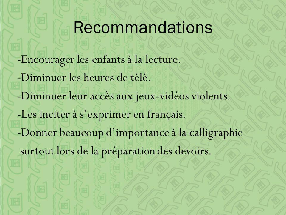 Recommandations -Encourager les enfants à la lecture.