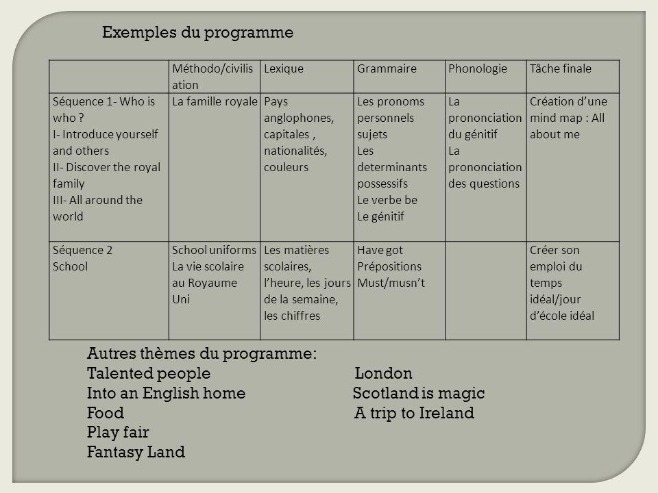 Assez Le Programme d'anglais. Le programme est régi par un cadre commun  DF47