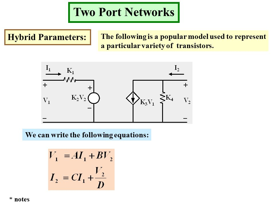 Two Port Networks Hybrid Parameters: The following is a popular model used to represent a particular variety of transistors.