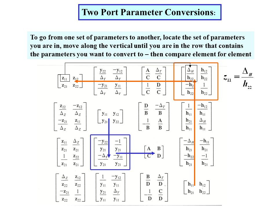 To go from one set of parameters to another, locate the set of parameters you are in, move along the vertical until you are in the row that contains the parameters you want to convert to – then compare element for element