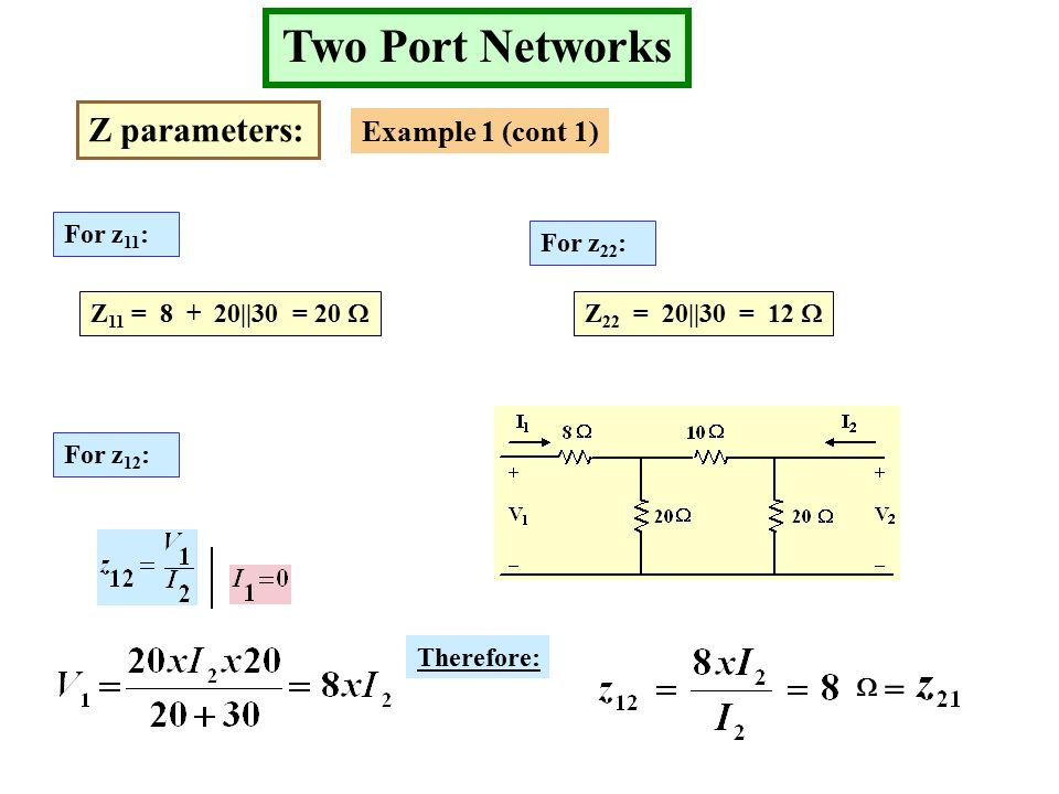 Two Port Networks Z parameters: Example 1 (cont 1) For z 11 : Z 11 = ||30 = 20  For z 22 : For z 12 : Z 22 = 20||30 = 12  Therefore:  =