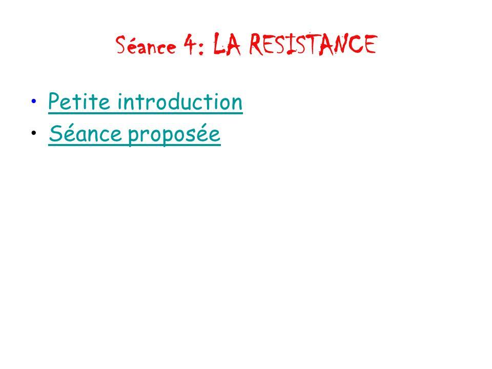 Séance 4: LA RESISTANCE Petite introduction Séance proposée