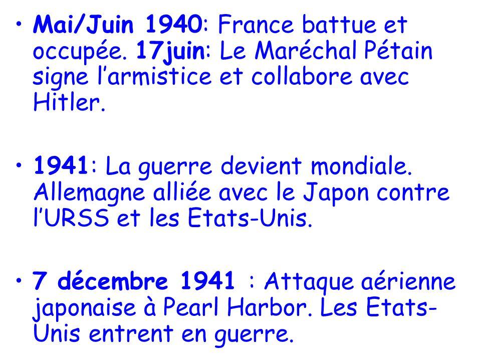 Mai/Juin 1940: France battue et occupée.