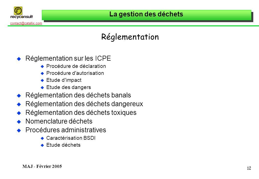 La gestion des déchets 12 contact@catallix.com MAJ - Février 2005 Réglementation u Réglementation sur les ICPE u Procédure de déclaration u Procédure