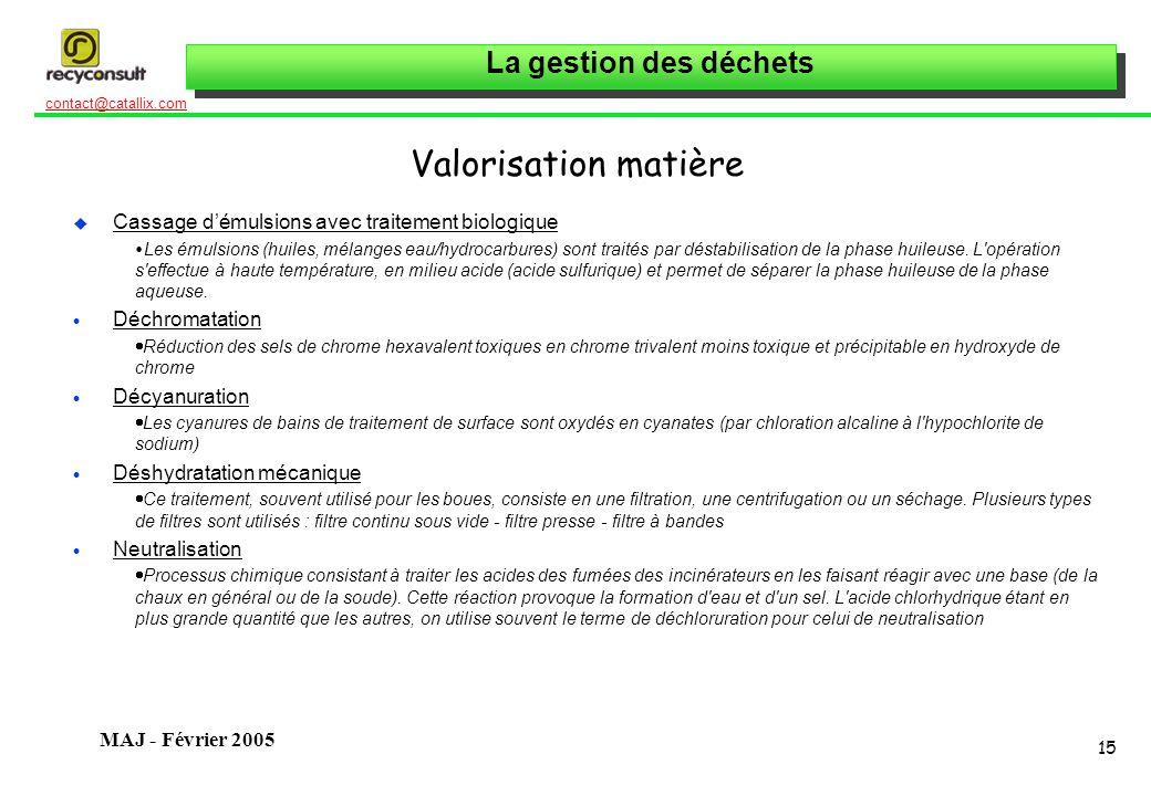 La gestion des déchets 15 contact@catallix.com MAJ - Février 2005 Valorisation matière u Cassage démulsions avec traitement biologique Les émulsions (