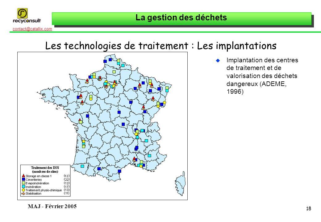 La gestion des déchets 18 contact@catallix.com MAJ - Février 2005 Les technologies de traitement : Les implantations u Implantation des centres de traitement et de valorisation des déchets dangereux (ADEME, 1996)