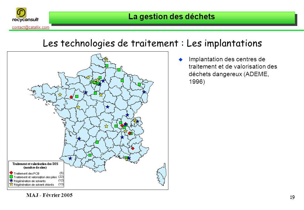 La gestion des déchets 19 contact@catallix.com MAJ - Février 2005 Les technologies de traitement : Les implantations u Implantation des centres de tra