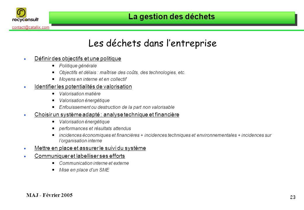 La gestion des déchets 23 contact@catallix.com MAJ - Février 2005 Les déchets dans lentreprise Définir des objectifs et une politique Politique généra