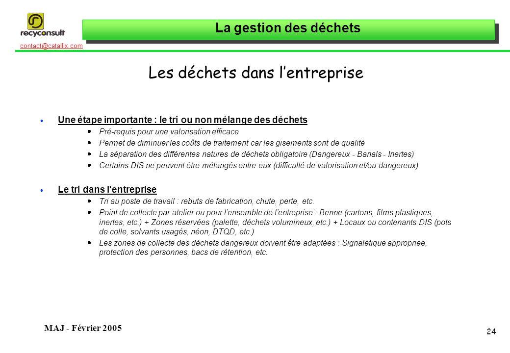 La gestion des déchets 24 contact@catallix.com MAJ - Février 2005 Les déchets dans lentreprise Une étape importante : le tri ou non mélange des déchet