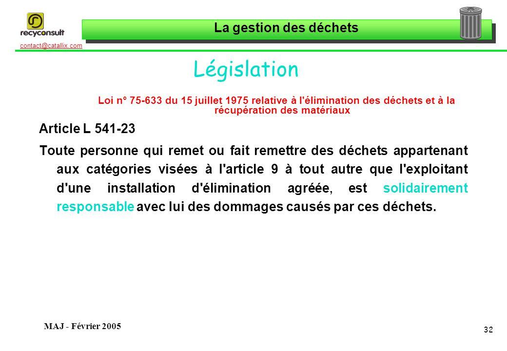 La gestion des déchets 32 contact@catallix.com MAJ - Février 2005 Législation Loi n° 75-633 du 15 juillet 1975 relative à l'élimination des déchets et