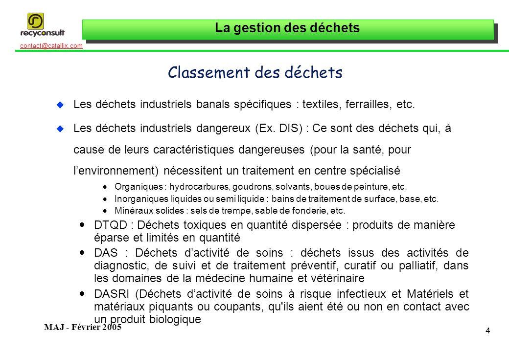 La gestion des déchets 4 contact@catallix.com MAJ - Février 2005 Classement des déchets u Les déchets industriels banals spécifiques : textiles, ferra