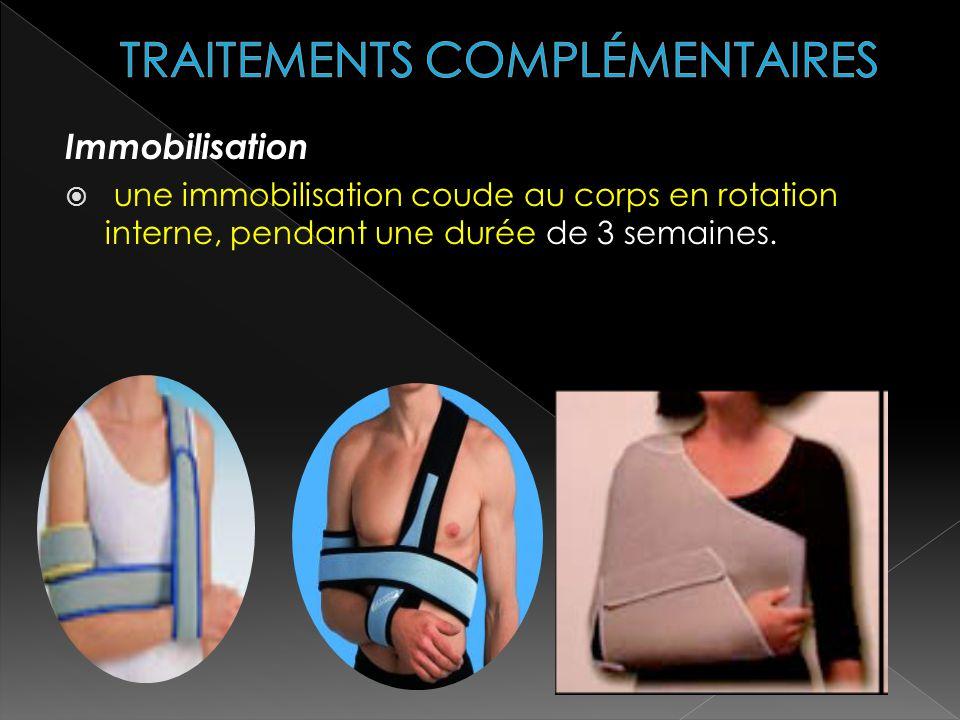 Immobilisation une immobilisation coude au corps en rotation interne, pendant une durée de 3 semaines.