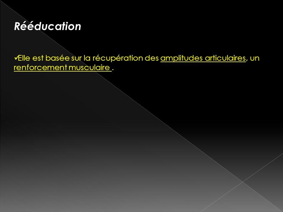 Rééducation Elle est basée sur la récupération des amplitudes articulaires, un renforcement musculaire.