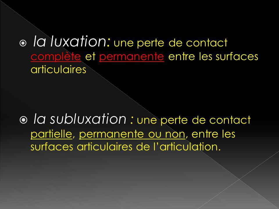 la luxation: une perte de contact complète et permanente entre les surfaces articulaires la subluxation la subluxation : une perte de contact partiell