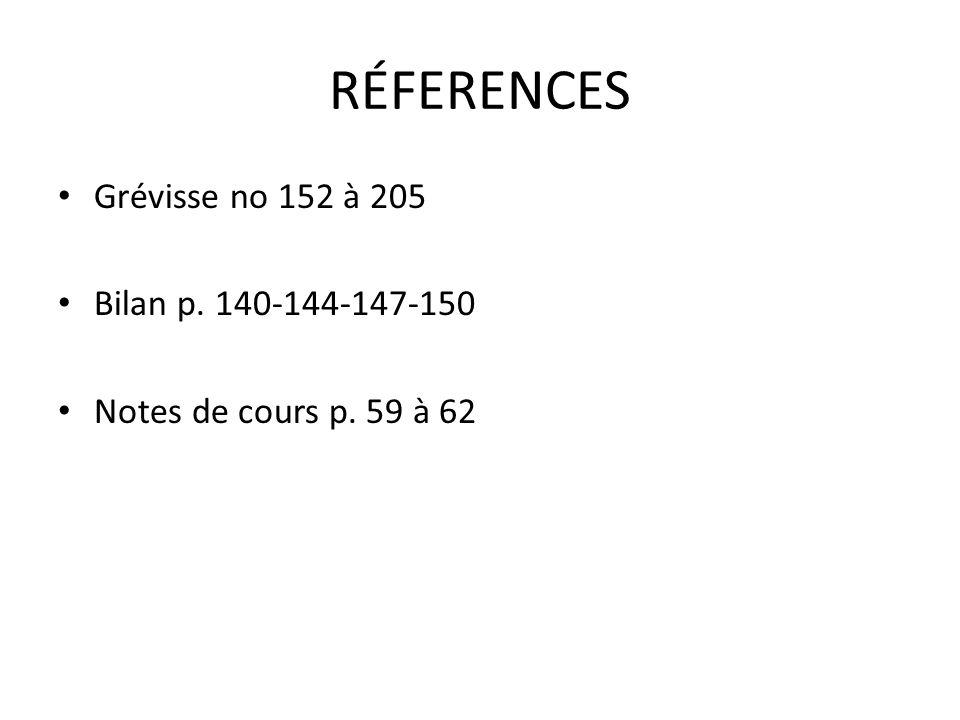 RÉFERENCES Grévisse no 152 à 205 Bilan p. 140-144-147-150 Notes de cours p. 59 à 62