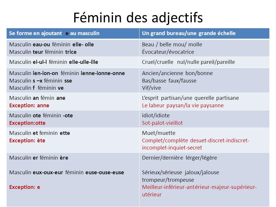 Féminin des adjectifs Se forme en ajoutant e au masculinUn grand bureau/une grande échelle Masculin eau-ou féminin elle- olle Masculin teur féminin tr