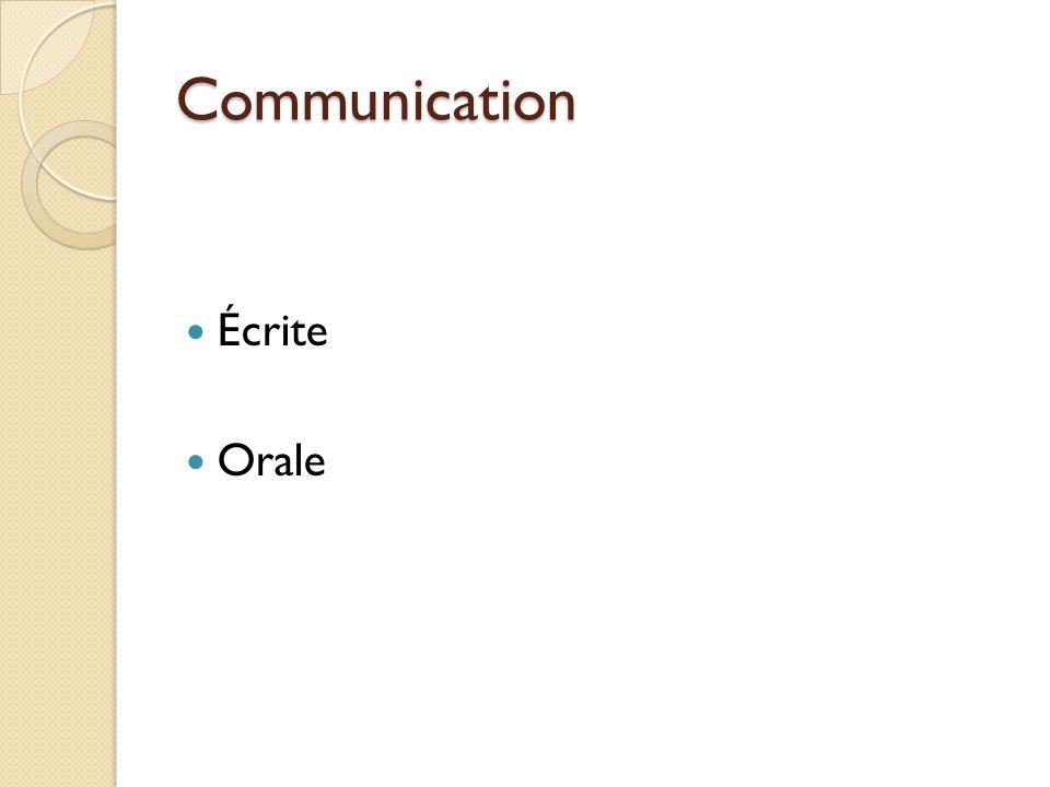 Communication Écrite Orale