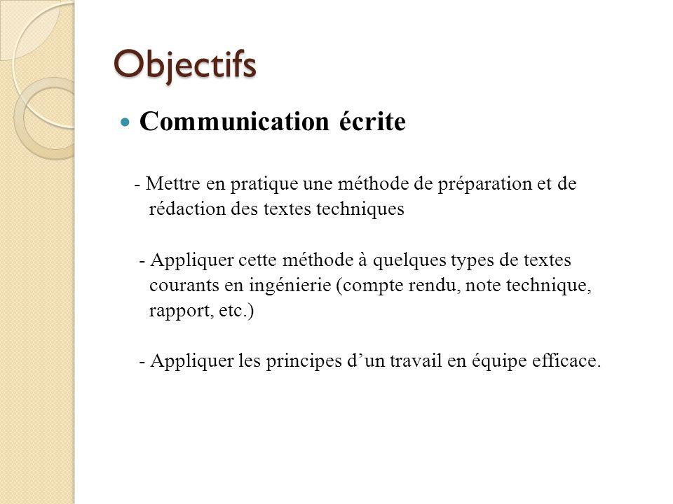 Objectifs Communication orale - Préparer un exposé sur un sujet technique - Donner un exposé montrant une bonne maîtrise des habiletés de communication orale