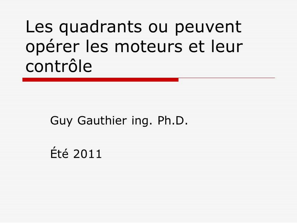 Les quadrants ou peuvent opérer les moteurs et leur contrôle Guy Gauthier ing. Ph.D. Été 2011