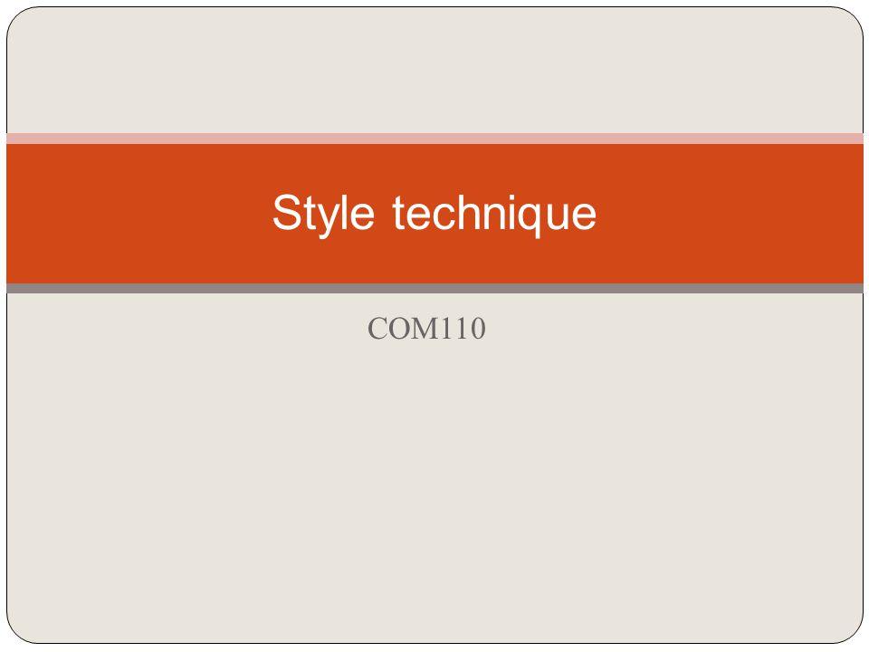 COM110 Style technique